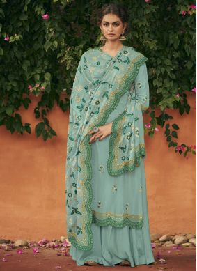 Blue Art Silk Reception Salwar Suit