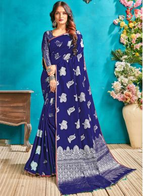 Blue Art Silk Woven Traditional Designer Saree