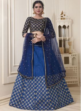 Blue Banglori Silk Embroidered Lehenga Choli