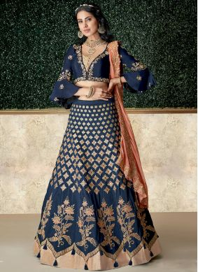 Blue Bridal Tafeta Silk Lehenga Choli