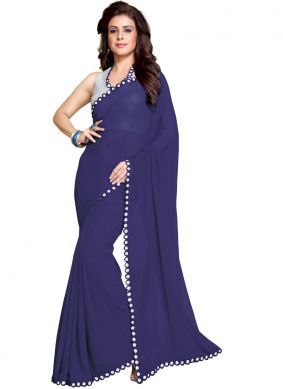 Blue Casual Faux Georgette Saree