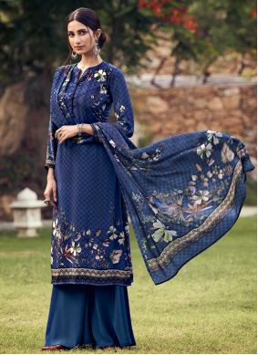 Blue Casual Palazzo Suit