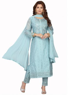 Blue Chanderi Readymade Suit