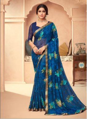 Blue Abstract Printed Faux Georgette Classic Saree
