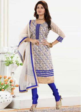 Blue Color Churidar Designer Suit