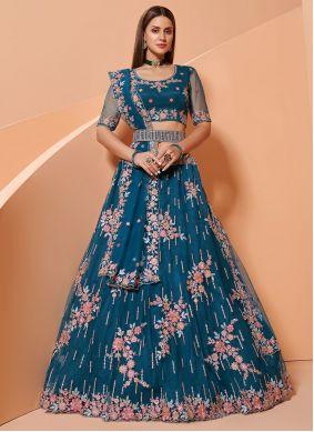 Blue Color Net Lehenga Choli