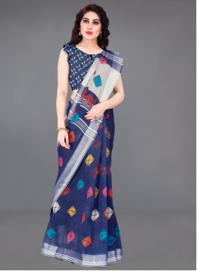 Blue Color Printed Saree
