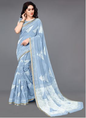 Blue Cotton Festival Printed Saree
