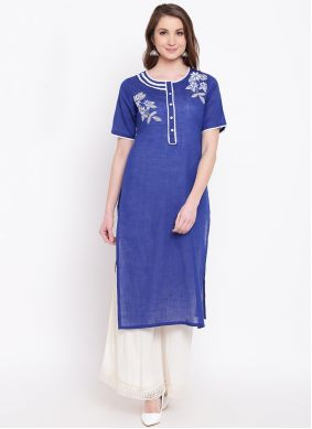 Blue Cotton Party Wear Kurti