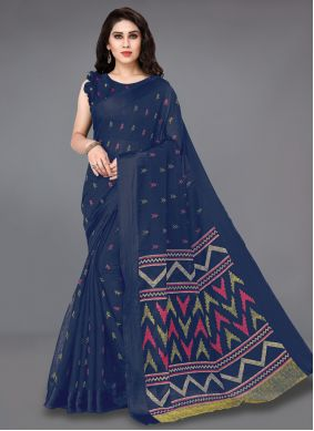 Blue Cotton Printed Casual Saree