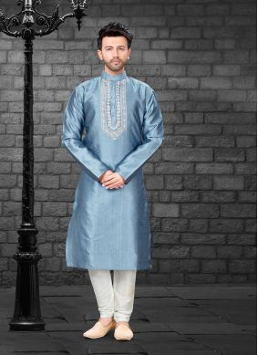 Blue Embroidered Art Silk Kurta Pyjama