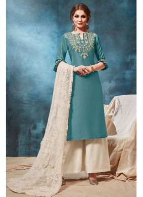 Blue Embroidered Art Silk Party Wear Kurti