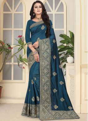 Blue Embroidered Bridal Traditional Saree