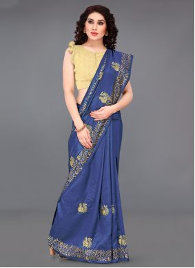Blue Embroidered Casual Saree