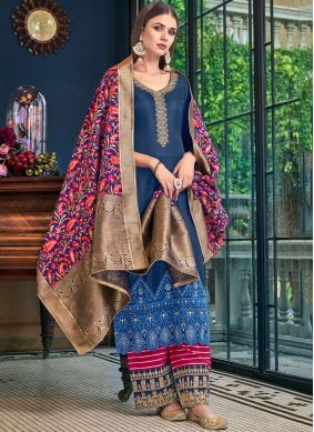 Blue Embroidered Designer Palazzo Salwar Suit