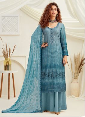 Blue Embroidered Faux Chiffon Designer Palazzo Suit