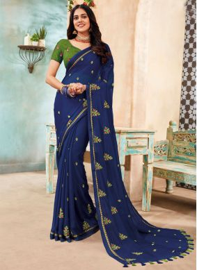 Blue Embroidered Faux Chiffon Traditional Designer Saree