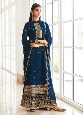 Blue Embroidered Faux Georgette Designer Palazzo Suit