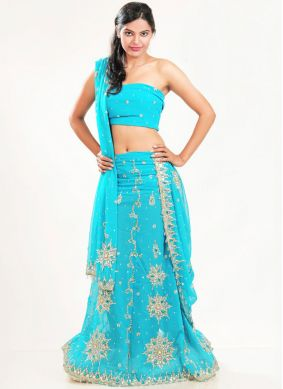 Blue Embroidered Faux Georgette Lehenga Choli