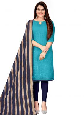Blue Embroidered Festival Churidar Suit