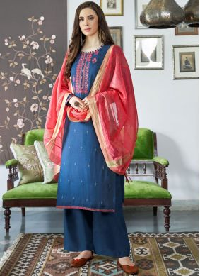 Blue Embroidered Festival Designer Palazzo Suit