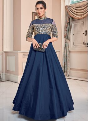 Blue Embroidered Festival Floor Length Gown