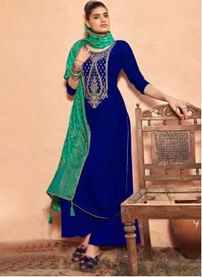 Blue Embroidered Festival Salwar Kameez