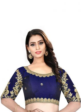 Blue Embroidered Mehndi Blouse