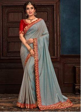 Blue Embroidered Party Classic Saree