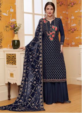 Blue Embroidered Party Palazzo Salwar Kameez
