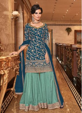 Blue Embroidered Reception Designer Salwar Kameez
