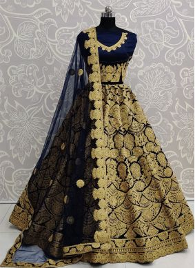 Blue Embroidered Satin Silk A Line Lehenga Choli