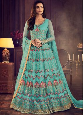 Blue Embroidered Wedding Floor Length Anarkali Suit