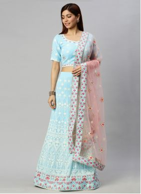 Blue Engagement Lehenga Choli