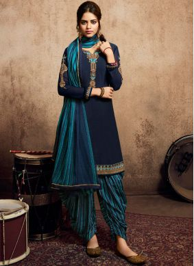Blue Faux Crepe Resham Patiala Suit
