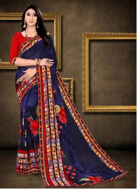 Blue Faux Georgette Abstract Printed Saree