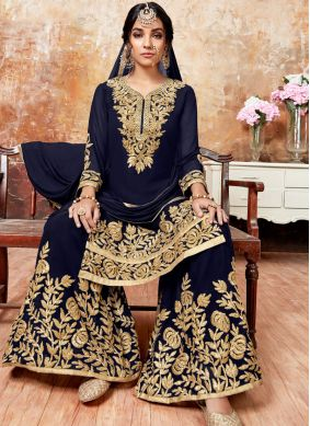 Blue Faux Georgette Designer Pakistani Suit
