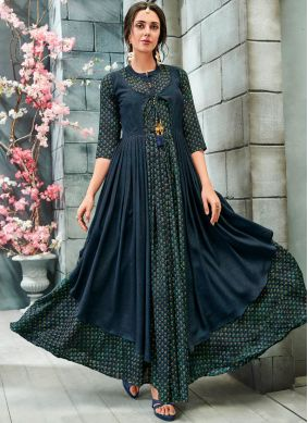 Blue Faux Georgette Print Readymade Gown