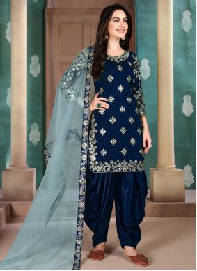 Blue Festival Art Silk Salwar Suit