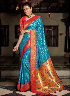 Blue Festival Silk Traditional Designer Saree