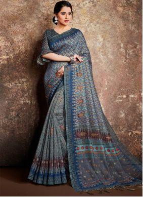 Blue Handloom silk Classic Saree