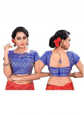 Blue Jacquard Embroidered Blouse