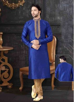 Blue Jacquard Reception Kurta Pyjama