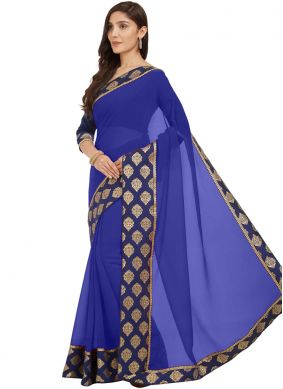 Blue Lace Faux Chiffon Casual Saree