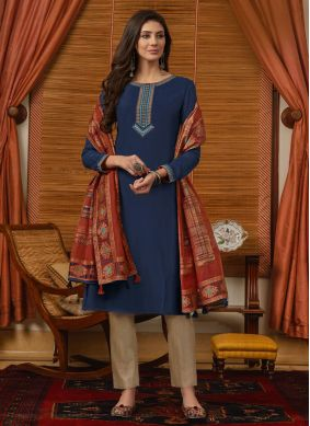 Blue Muslin Embroidered Pant Style Suit