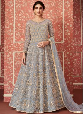 Blue Net Wedding Floor Length Anarkali Suit
