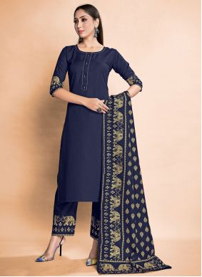 Blue Rayon Pant Style Suit