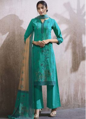Blue Party Cotton Lawn Designer Palazzo Suit
