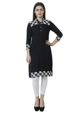 Blue Party Rayon Casual Kurti