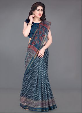 Blue Printed Cotton Printed Saree